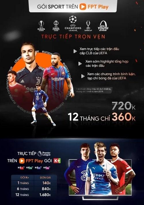 Gói sport trên truyền hình FPT Play